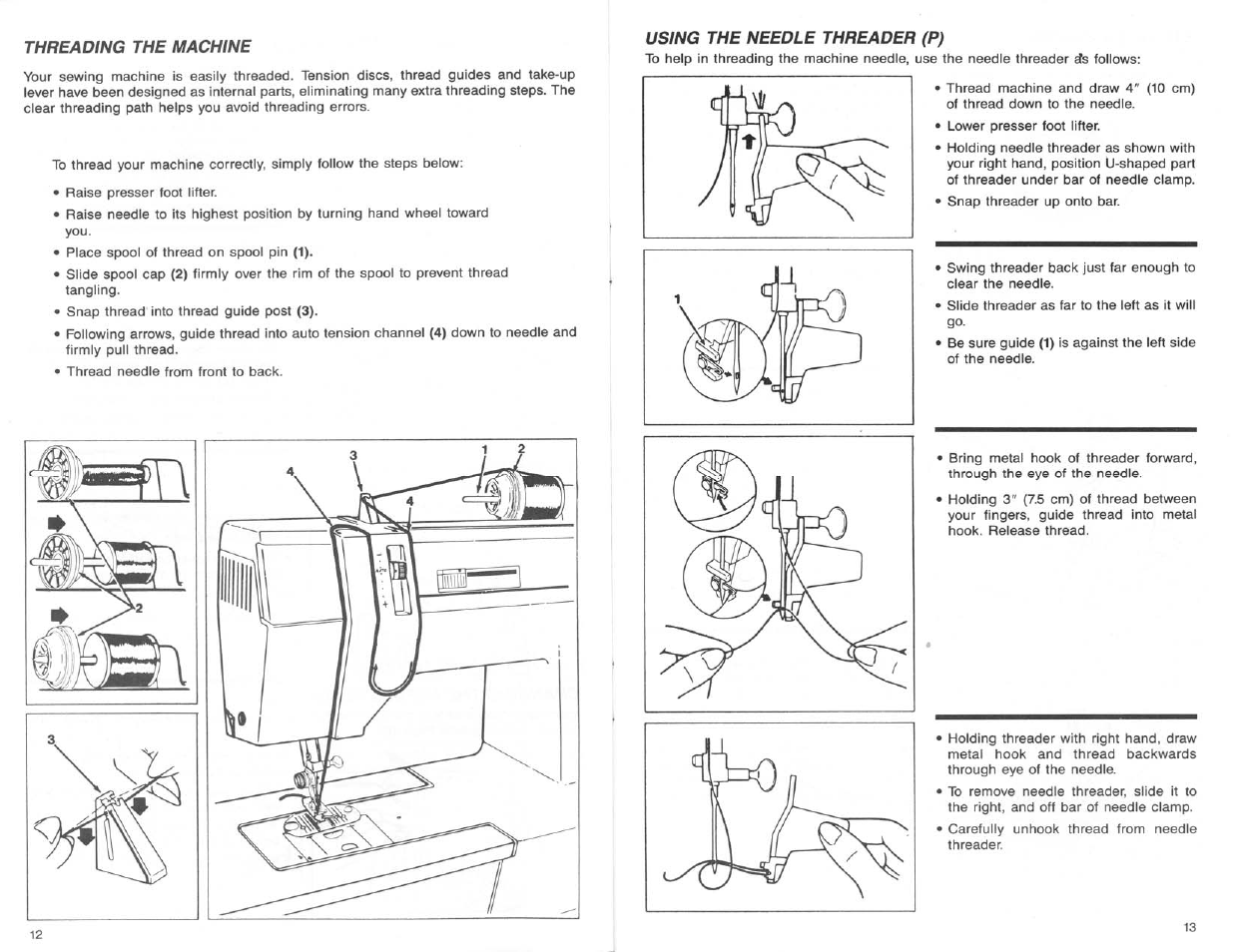 Using the needle threader (p), Using the needle threader | SINGER 9124 User  Manual | Page 8 / 25