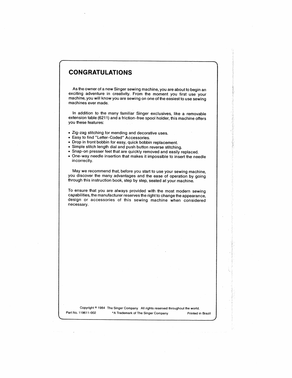 Congratulations | SINGER 6211 User Manual | Page 2 / 36