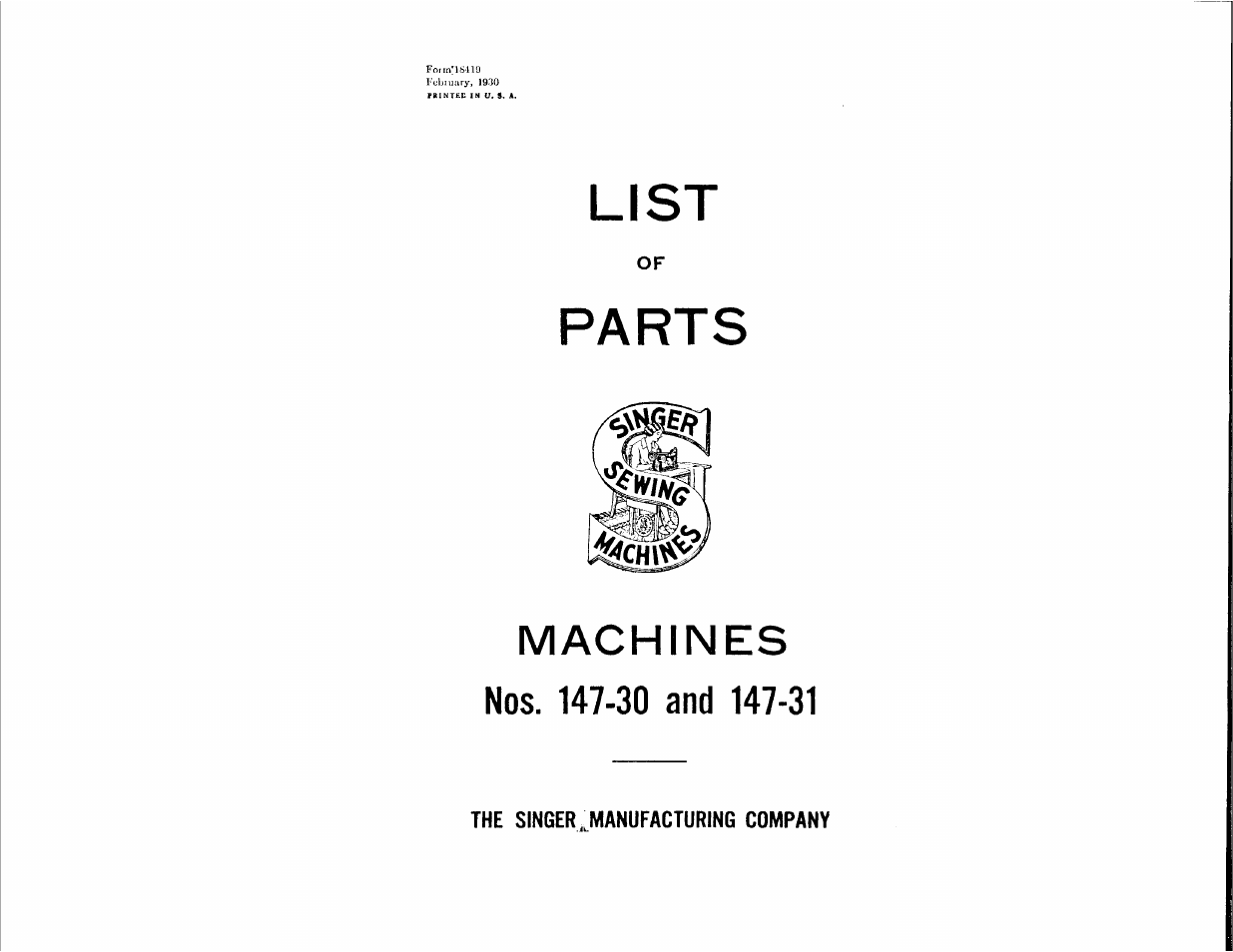 SINGER 147-30 User Manual | 36 pages | Also for: 147-31