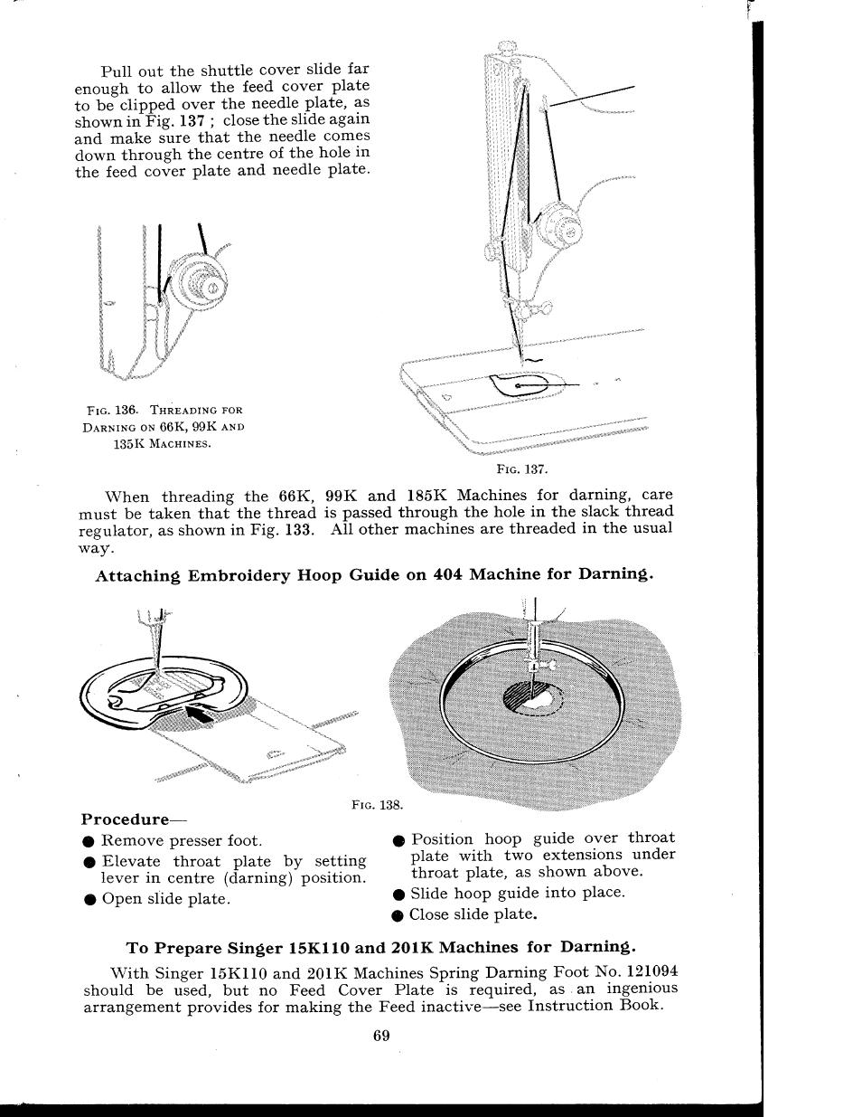 Procedure Singer 404k User Manual Page 69 78 99 K Sewing Machine Threading Diagram