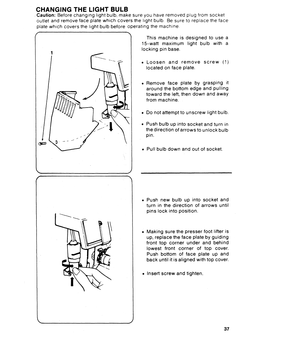 Changing The Light Bulb Th0 Singer 6215 User Wiring A Manual Page 39 48