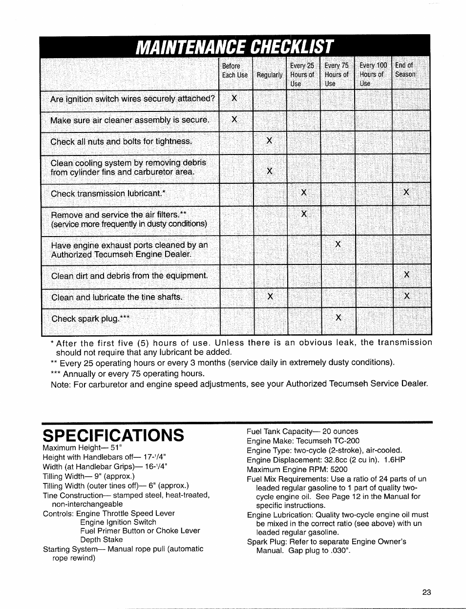 Mamenance checklist, Specifications | Troy-Bilt 12157 User Manual | Page 23  / 24