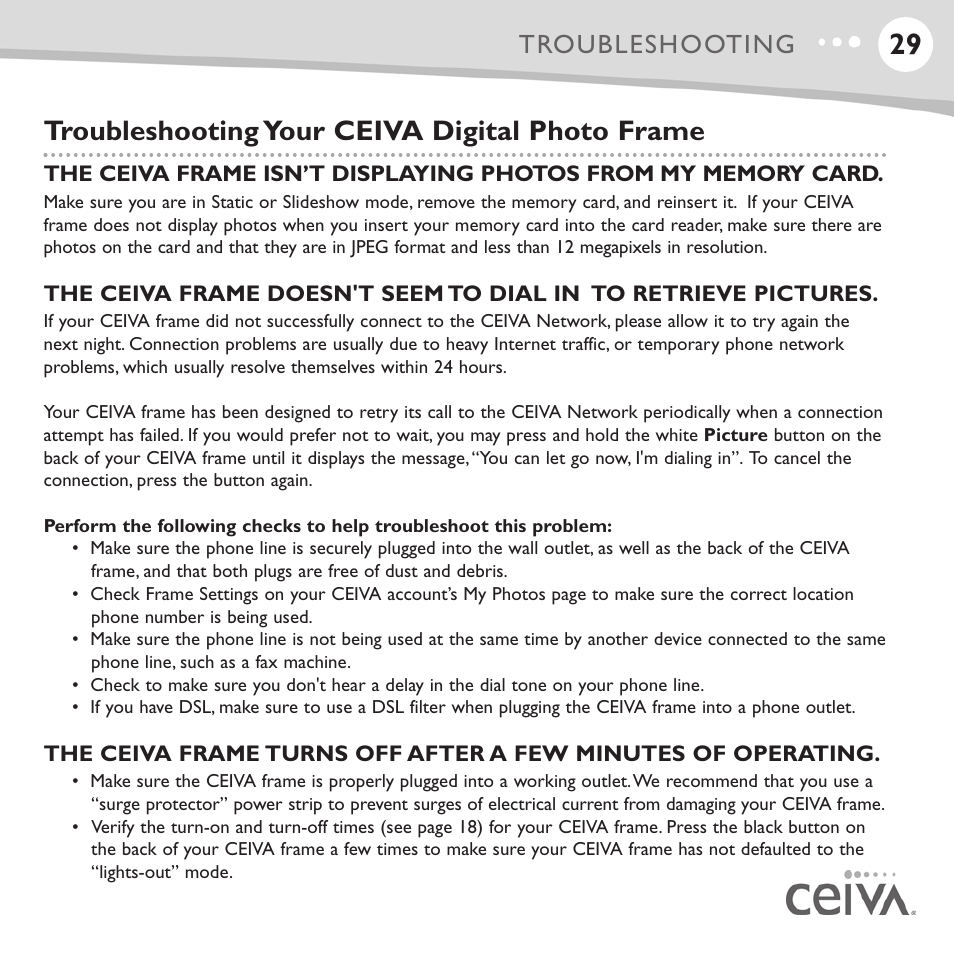 Troubleshooting your ceiva digital photo frame, Troubleshooting ...