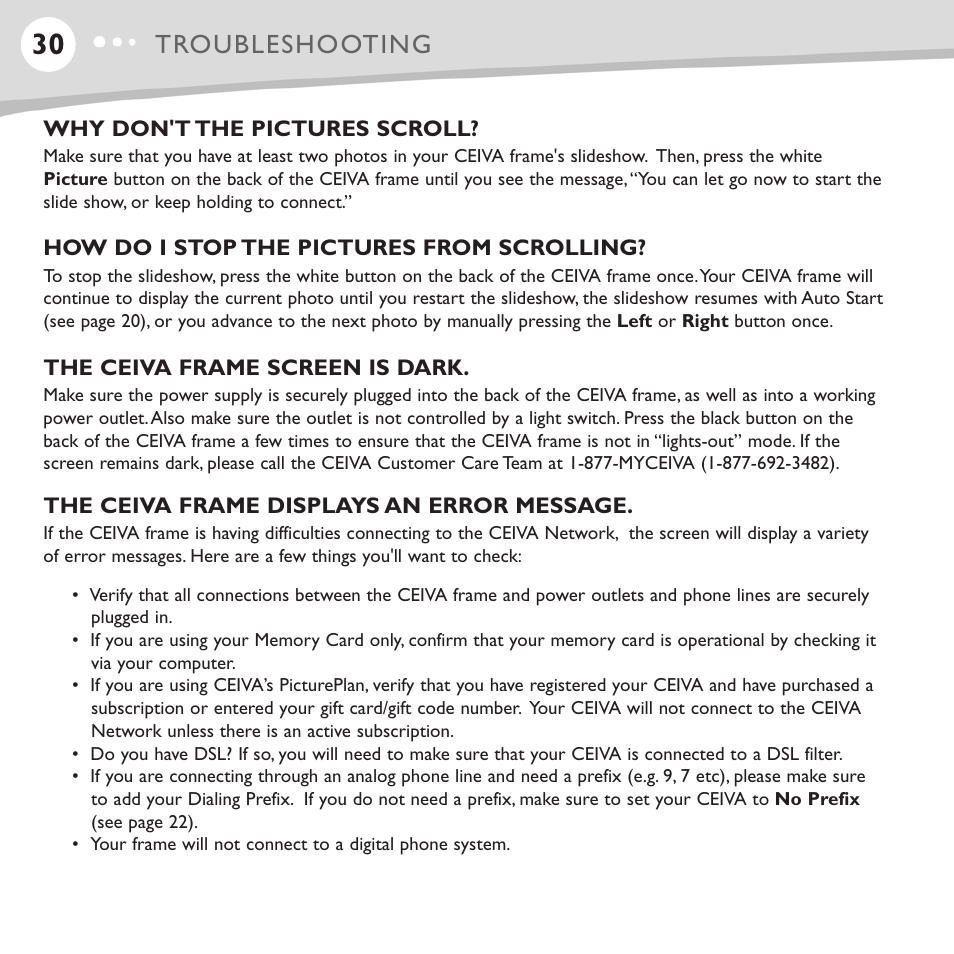 Troubleshooting | Ceiva LF4008 User Manual | Page 31 / 37