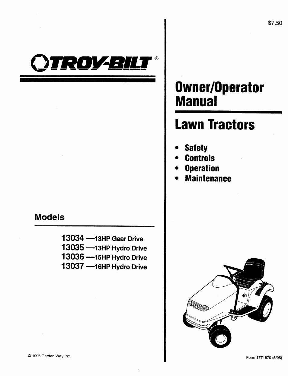 Troy Bilt 13034 User Manual | 36 Pages | Also For: 13037, 13036, 3035, 13035