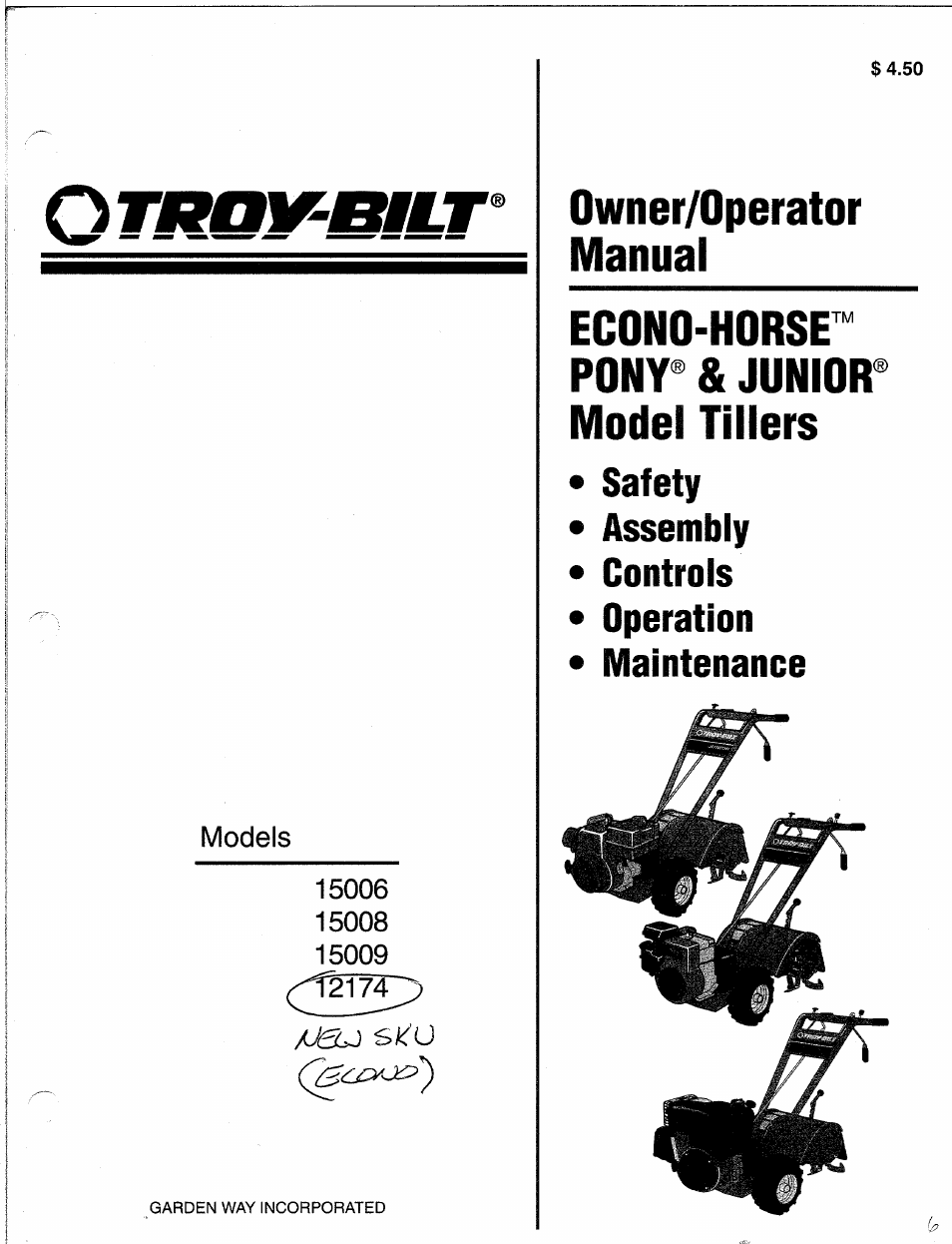 Troy-Bilt 15009 User Manual | 56 pages | Also for: 12174