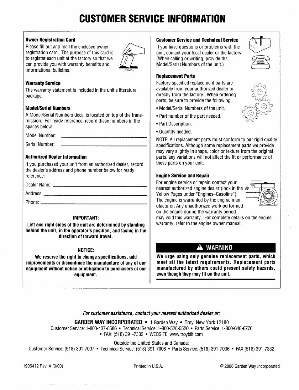 A warning, Customer service information | Troy-Bilt 12208