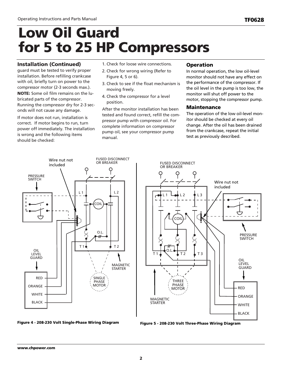 Low Oil Guard For 5 To 25 Hp Compressors Tf0628 Installation 4 Float Wiring Diagram Continued Campbell Hausfeld User Manual Page 2 12