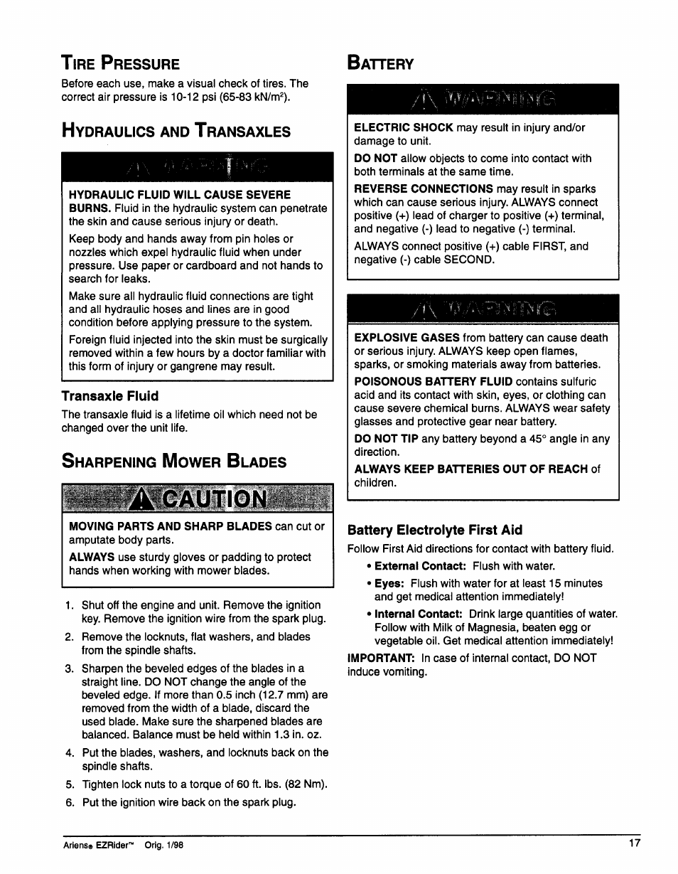 Tire Pressure Hydraulics And Transaxles Battery Electrolyte First Using Body Fluids Aid Ariens 009 1648 User Manual Page 21 28