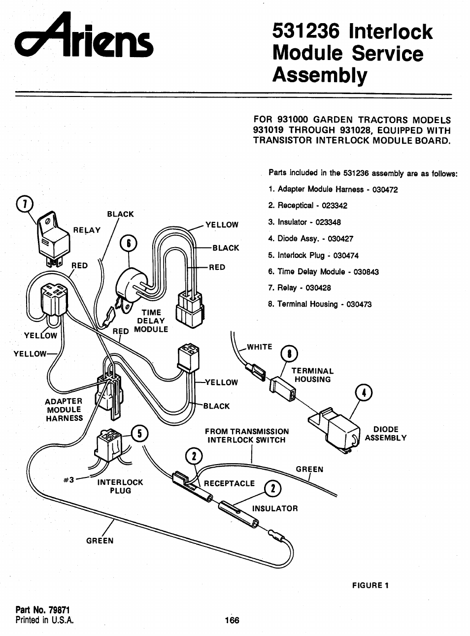 531236 interlock module service assembly, Ariens | Ariens 931 User Manual |  Page 167 / 167