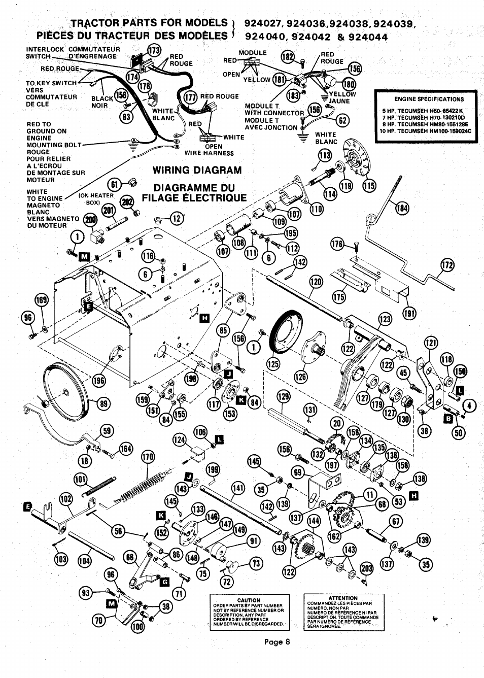 Tractor P U00e0rts For Models  Wiring Diagram Diagramme Du