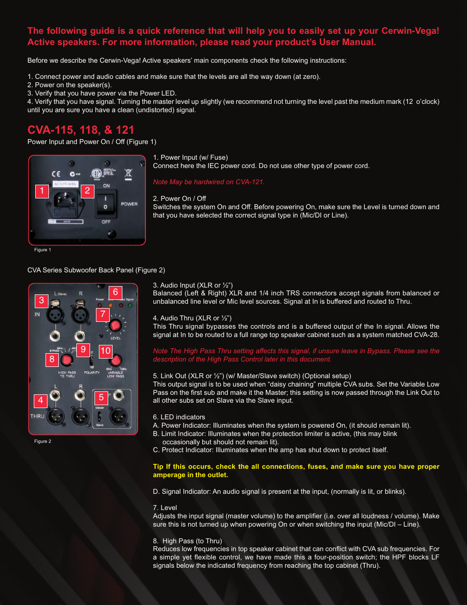 Cerwin Vega Cva 118 User Manual 4 Pages Also For 115 121 Audio Xlr Wiring Multiple Speakers