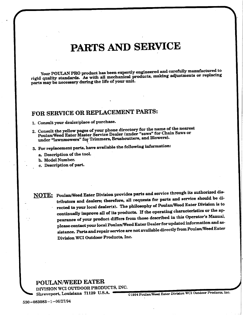 Parts and service, For service or replacement parts, Poulan/weed eater    Poulan 425 User Manual   Page 24 / 24