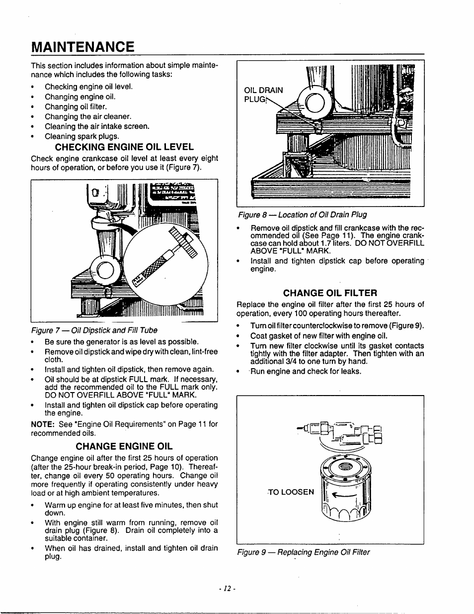 Maintenance, Checking engine oil level, Change engine oil | Generac Power  Systems 9592-3 User Manual | Page 14 / 36