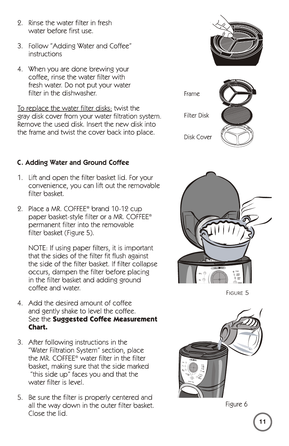 C Adding Water And Ground Coffee Mr 115949 User Manual Page 11 44