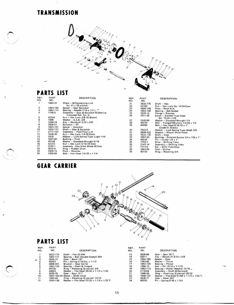 Transmission, Parts list, Gear carrier | Transmission parts list | MTD  Yard-Man