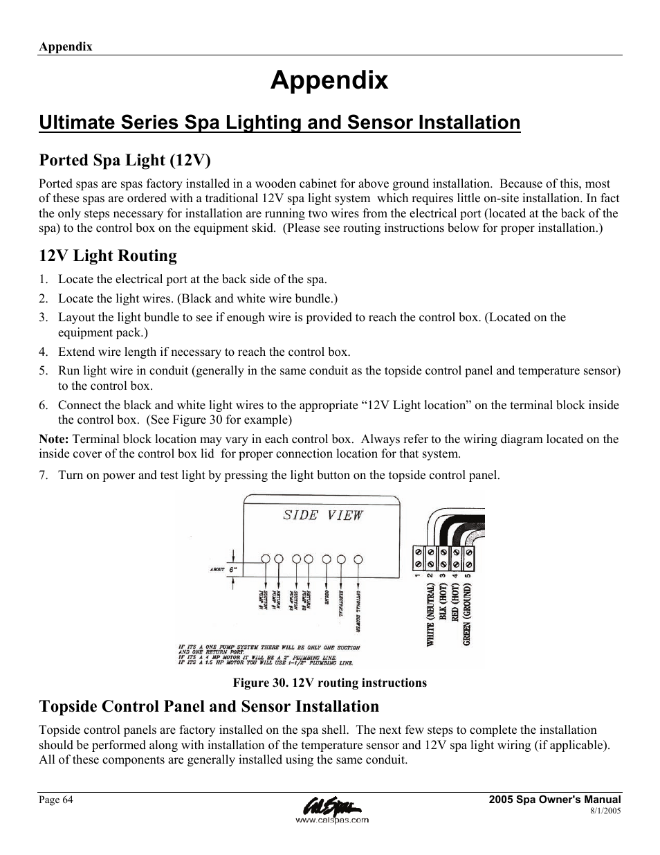 Cal Spa Wiring Diagram Install Books Of Appendix Ported Light 12v Routing Spas Rh Manualsdir Com