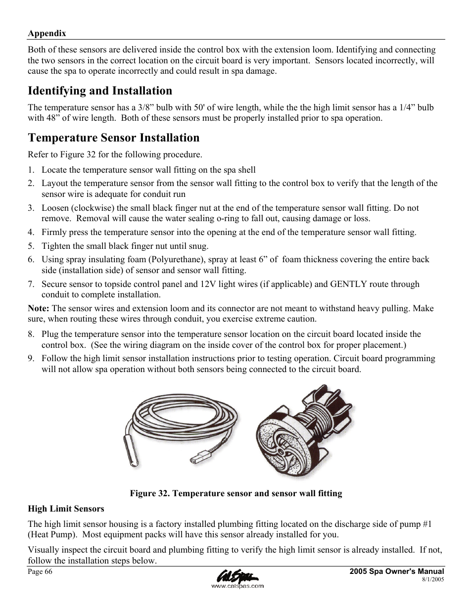 identifying and installation, temperature sensor installation | cal spas  ltr20051000 user manual | page 70 / 120