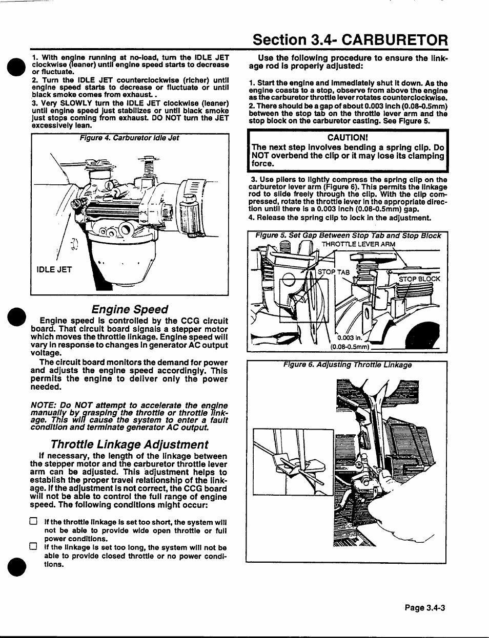 Engine Speed Throttle Linkage Adjustment Generac Power Systems Np Picture Of Finish Stepper Motor Generator Circuit 40g User Manual Page 61 126