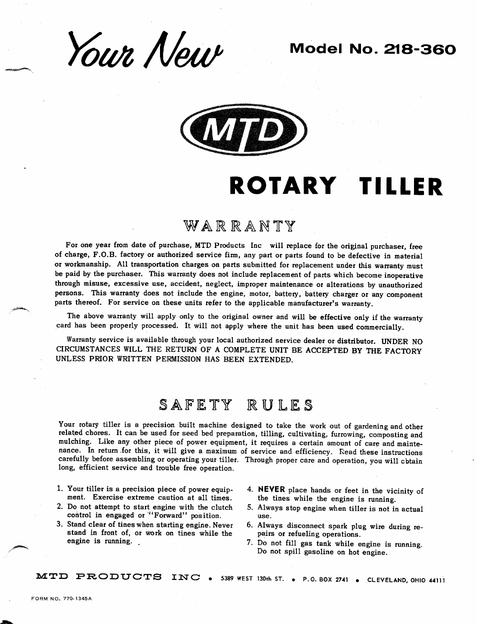 MTD 218-360 User Manual | 8 pages