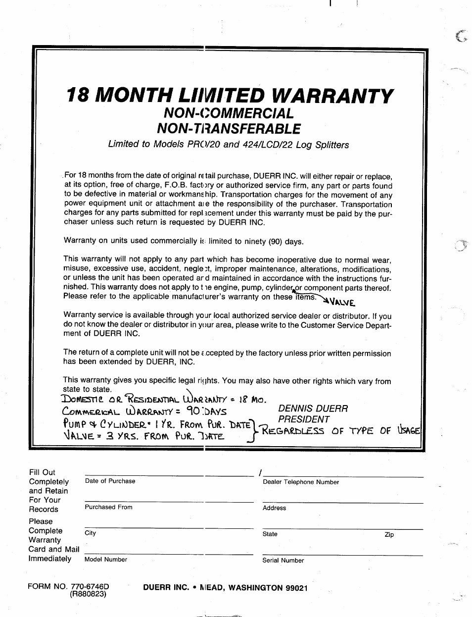 Duerr inc. • mead, washington 99021, 18 month limited warranty,  Non-commercial non-transferable | MTD 249-623-003 User Manual | Page 19 / 19