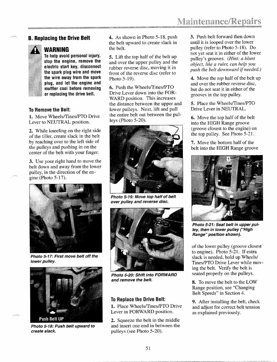 Tamteiiai, B  replacing the drive belt, Warninc | Troy-Bilt