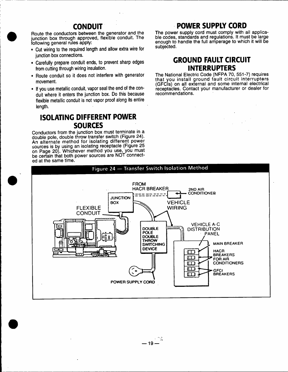 Conduit, Isolating different power sources, Power supply cord ...