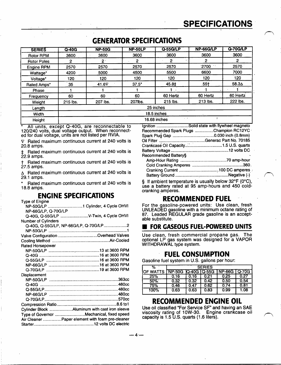 generator specifications, engine specifications, recommended fuel | generac  power systems 91355 user manual | page 6 / 32