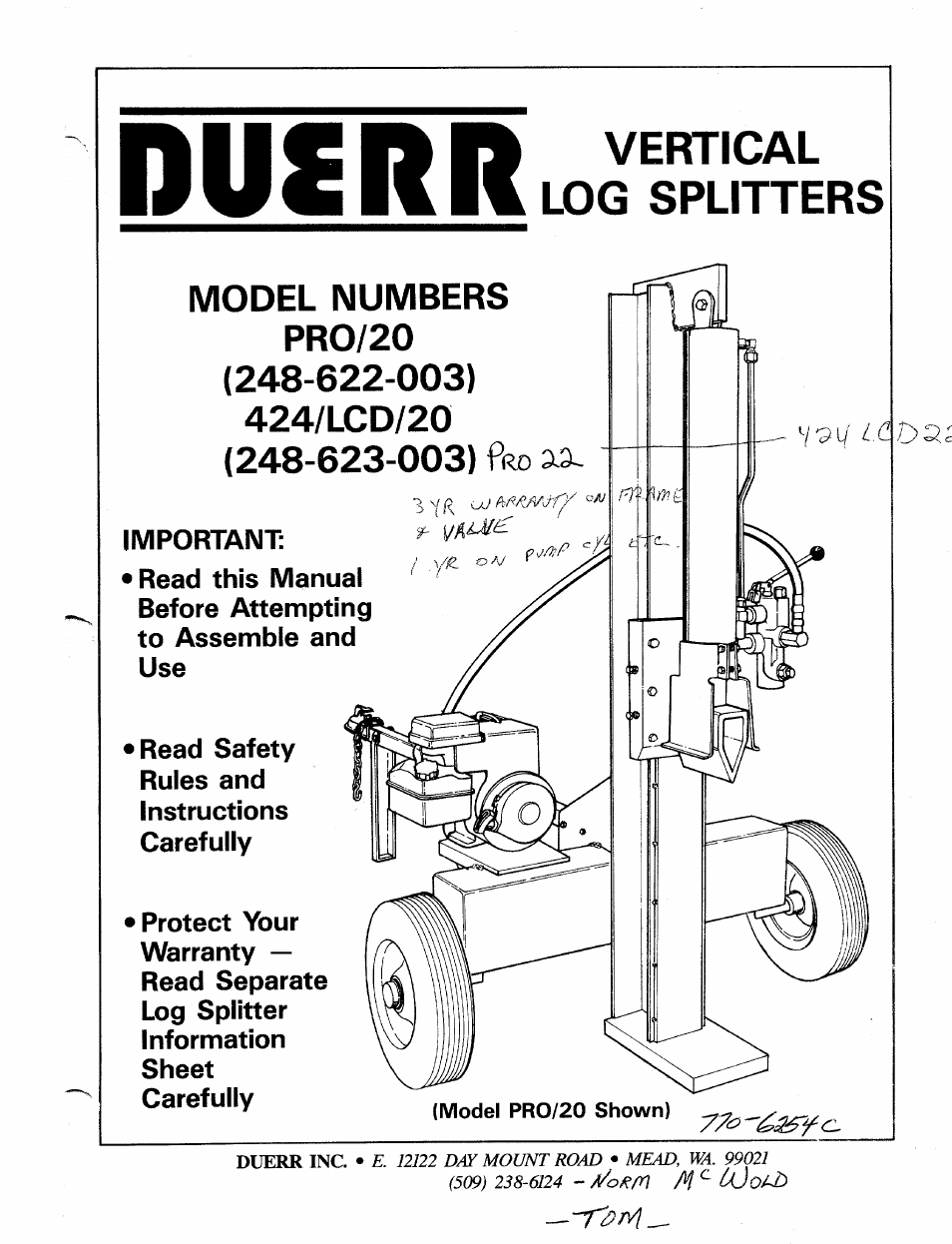 MTD Duerr 248-623-003 User Manual | 16 pages | Also for: Duerr 248-622-003