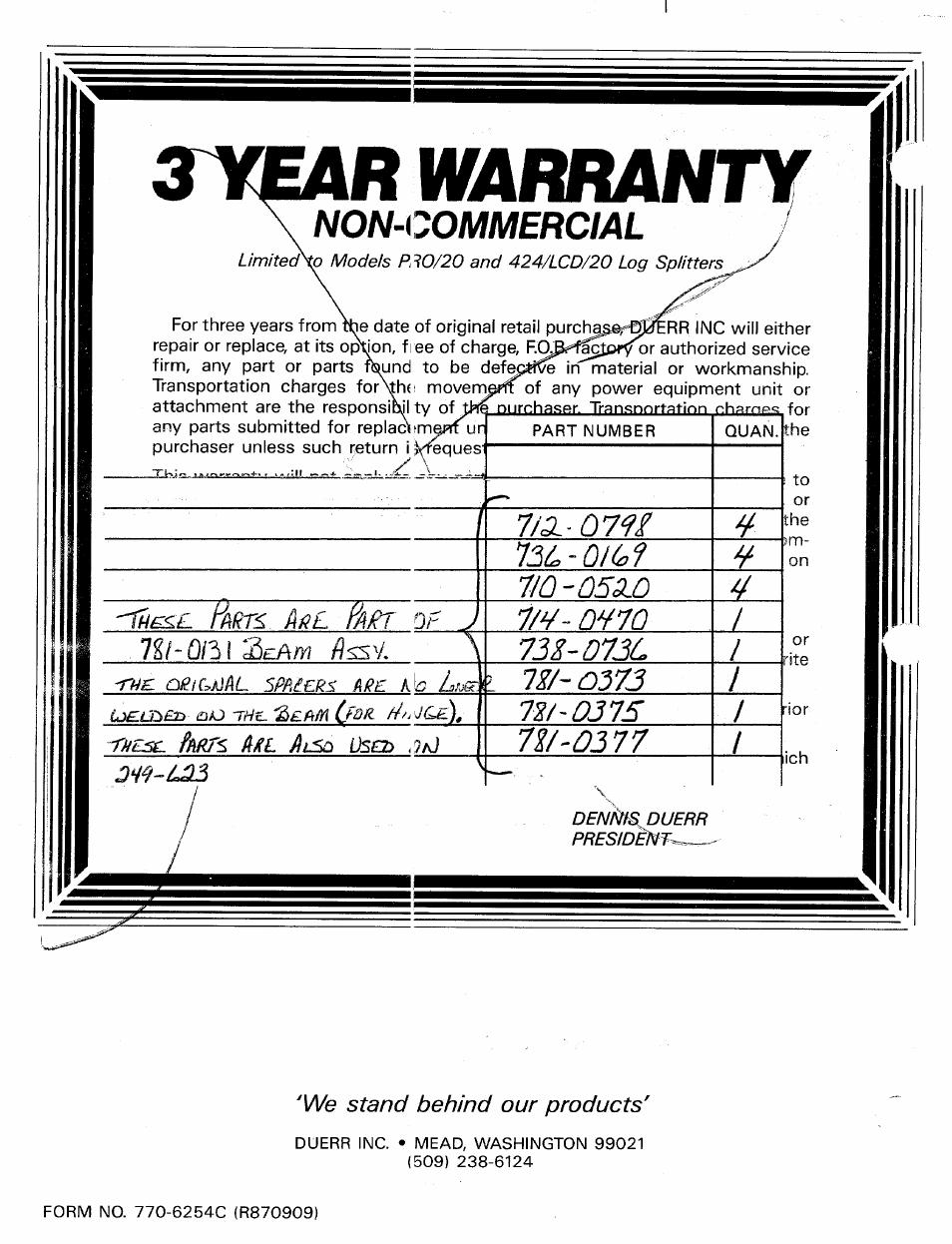 R warranty, Non-commercial, Warranty | MTD Duerr 248-623-003 User Manual |  Page 16 / 16