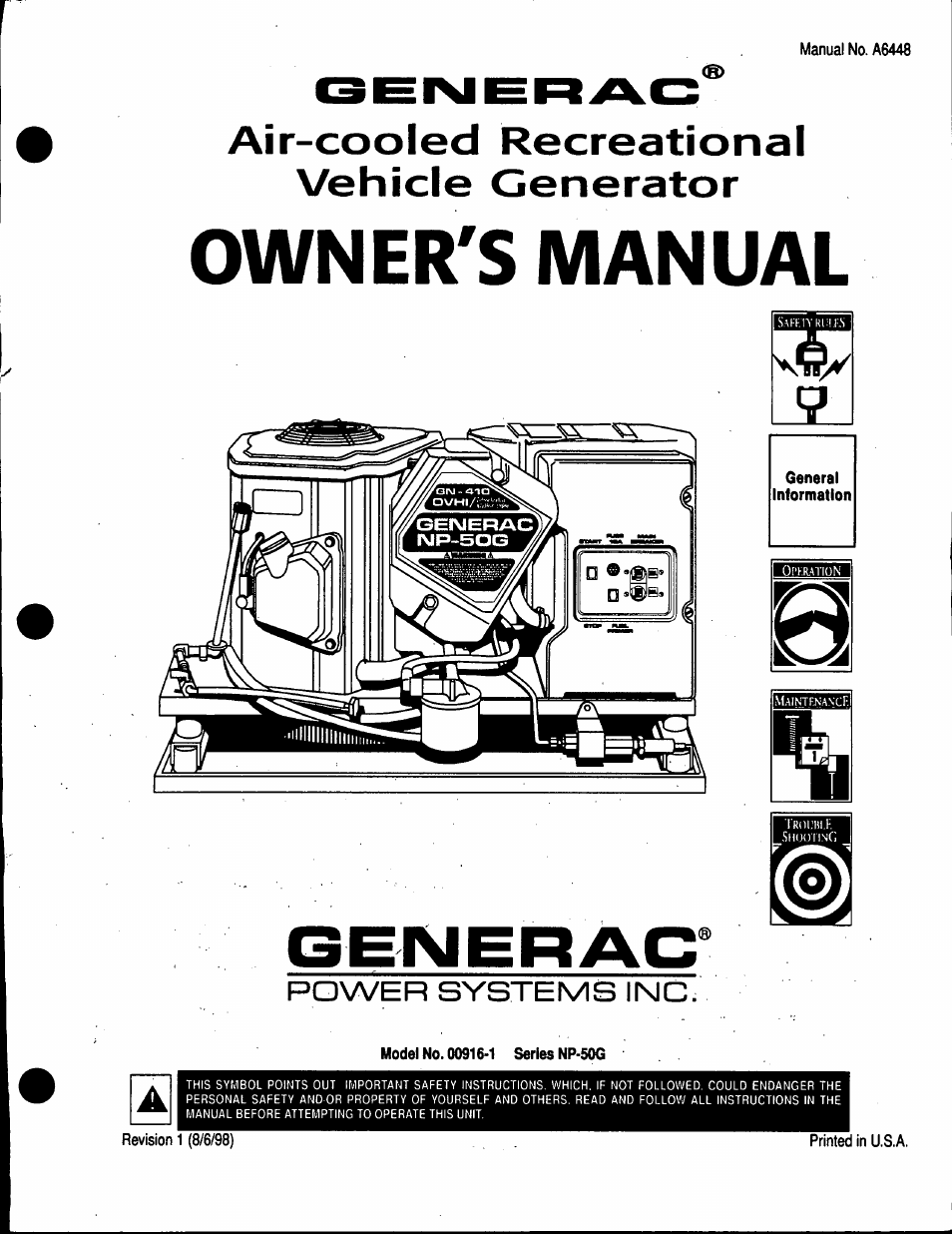 Generac Power Systems 00916 1 User Manual 32 Pages
