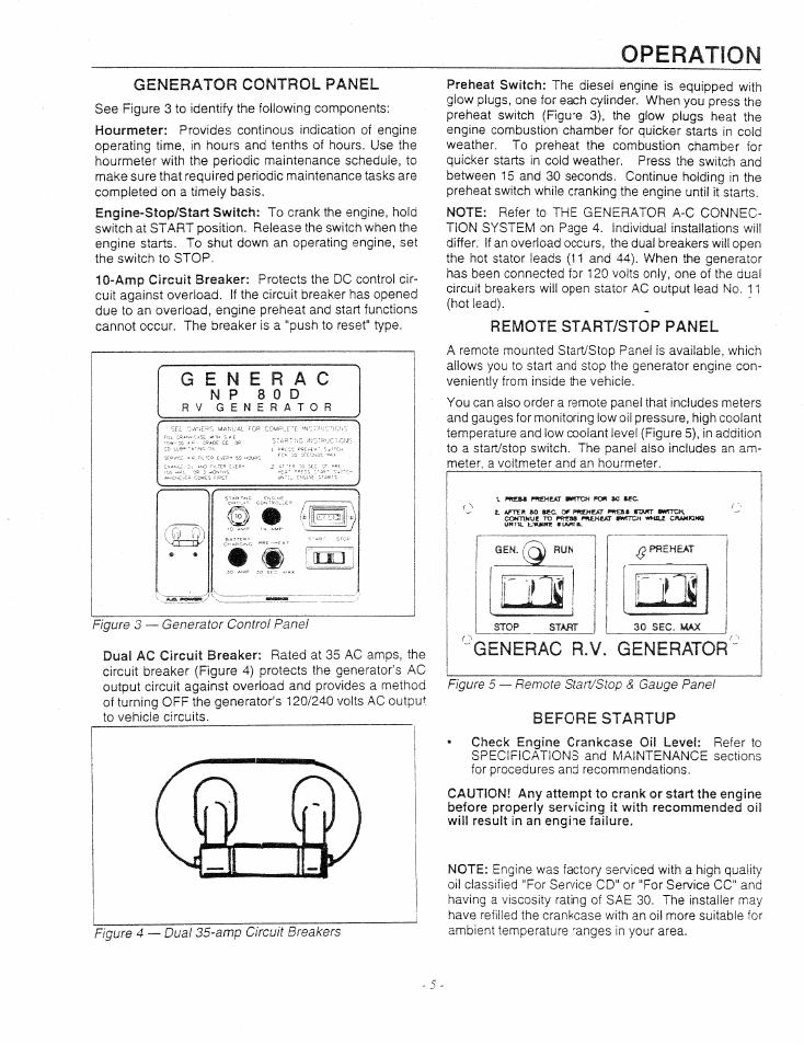 Operation, Generator control panel, Start preheat | Generac
