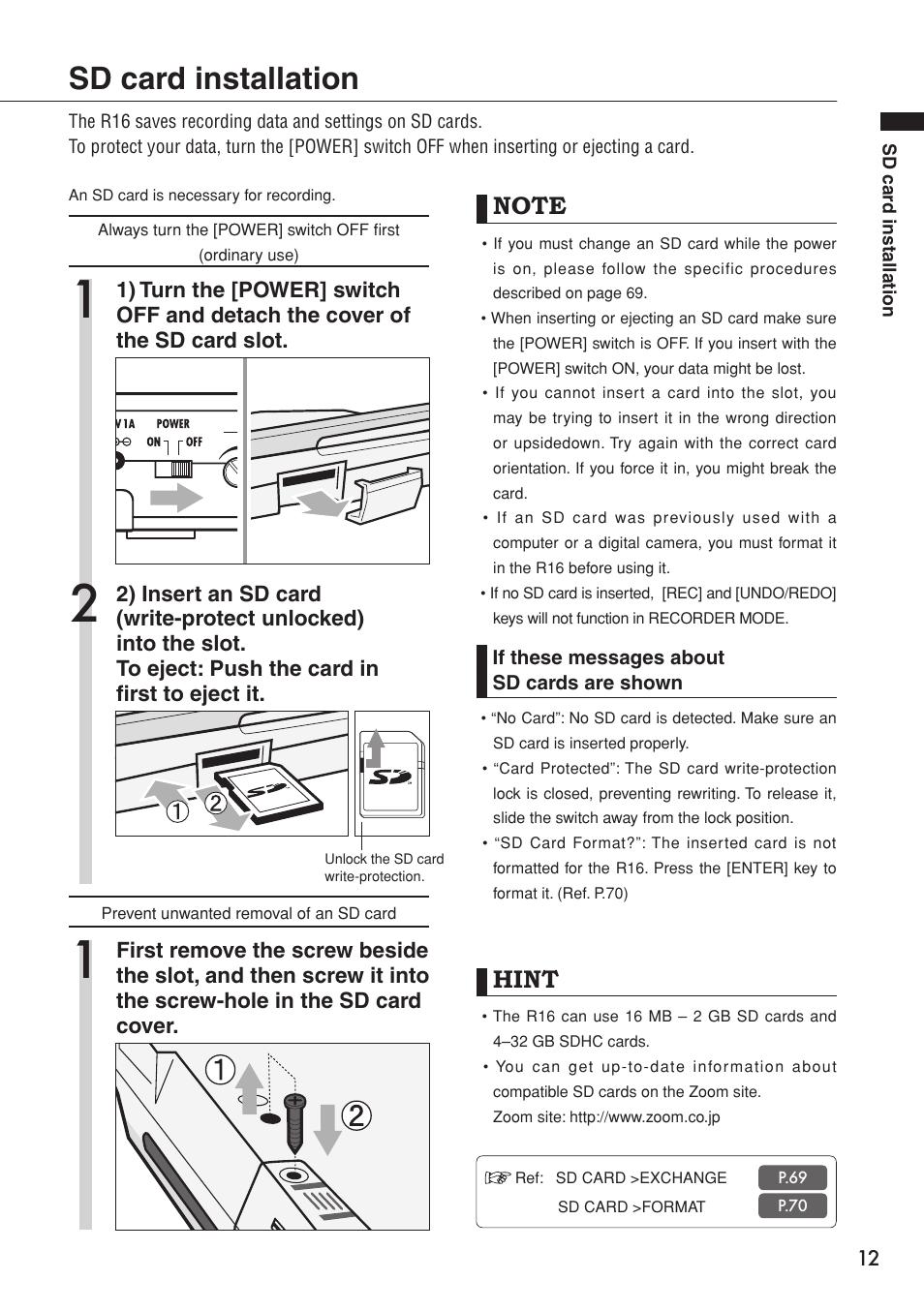 sd card installation hint zoom r16 user manual page 13 100 rh manualsdir com zoom r16 user manual zoom b3 user manual