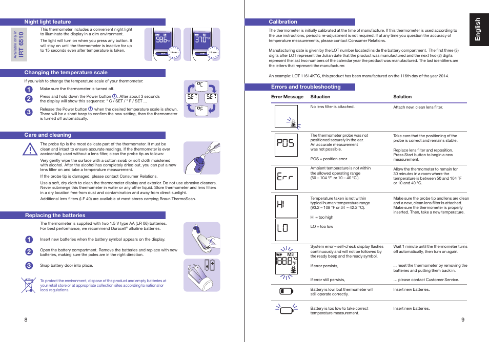 th er m os ca n, english | braun thermoscan irt 6510 user manual