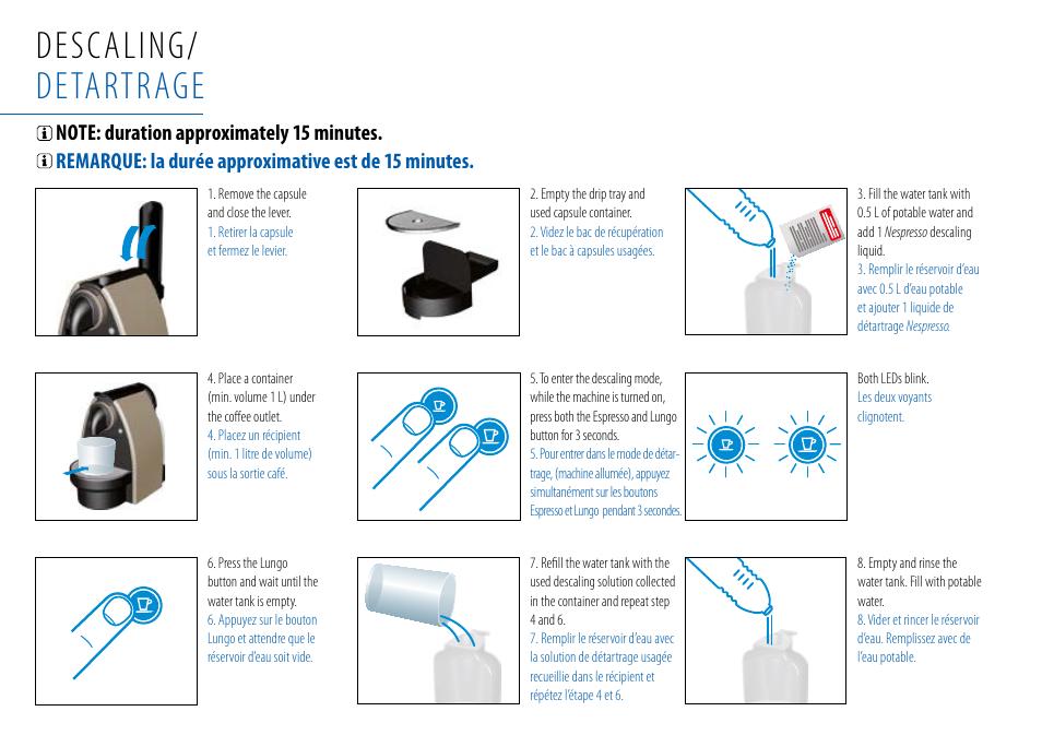 descaling detartrage nespresso essenza c99 user manual page 18 140. Black Bedroom Furniture Sets. Home Design Ideas