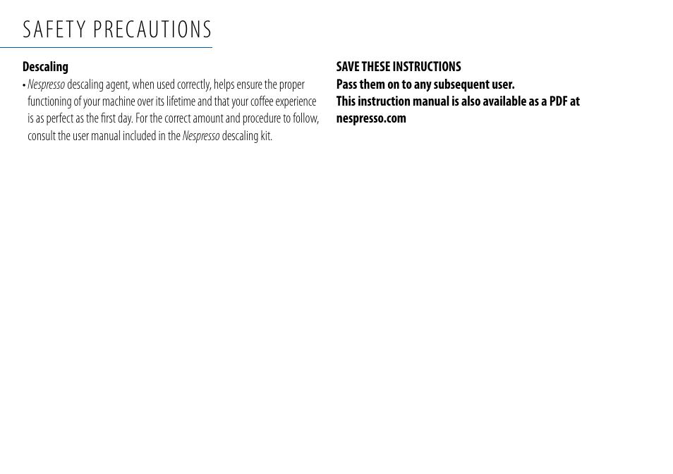 Safety Precautions Nespresso Essenza C99 User Manual Page 6 140