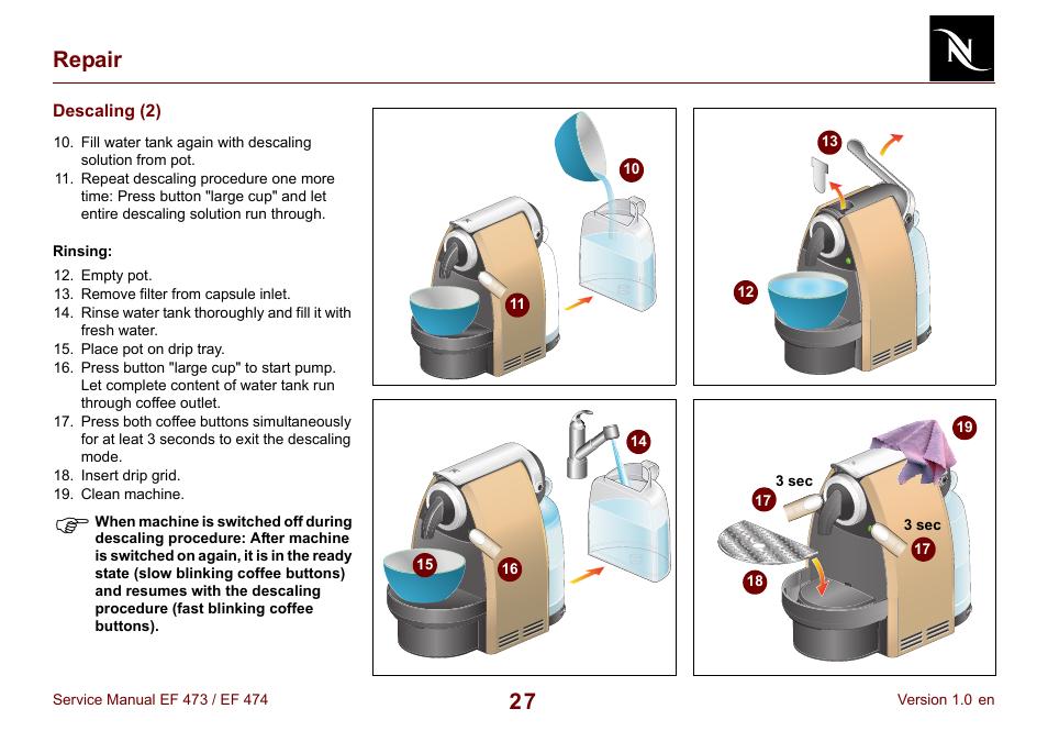 Descaling 2 27 Repair Nespresso Essenza Fs Ef 474 User Manual