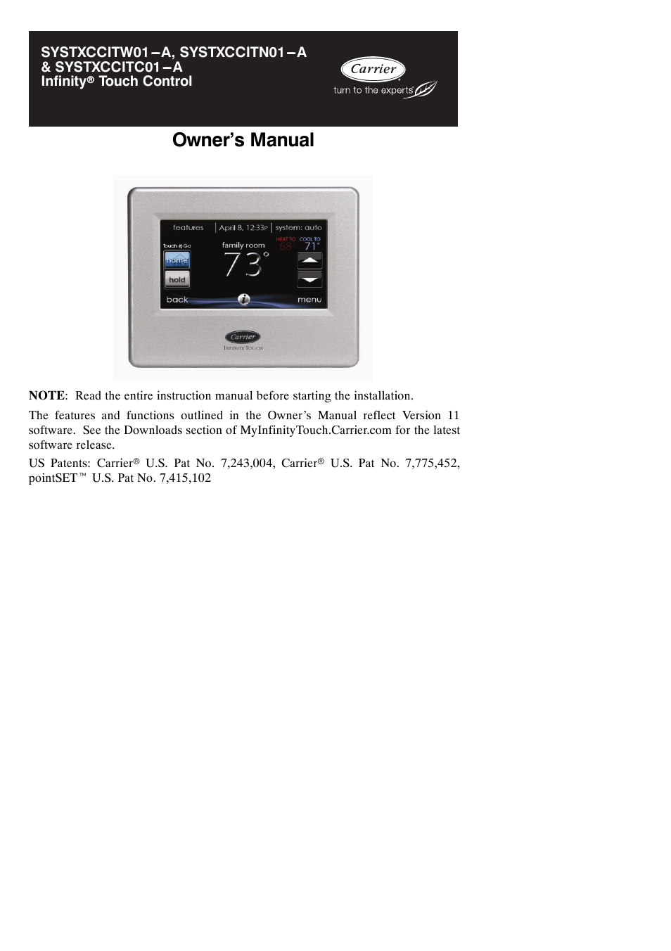 Carrier Infinity Systxccitc01 A User Manual 68 Pages Also For Systxccitn01 Systxccitw01 Thermostat