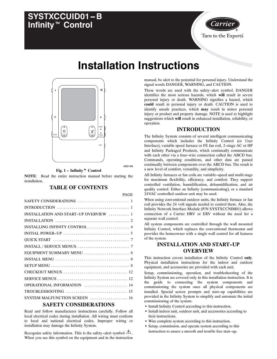 carrier infinity systxccuid01 b page1 carrier infinity systxccuid01 b user manual 16 pages carrier infinity system wiring diagram at crackthecode.co