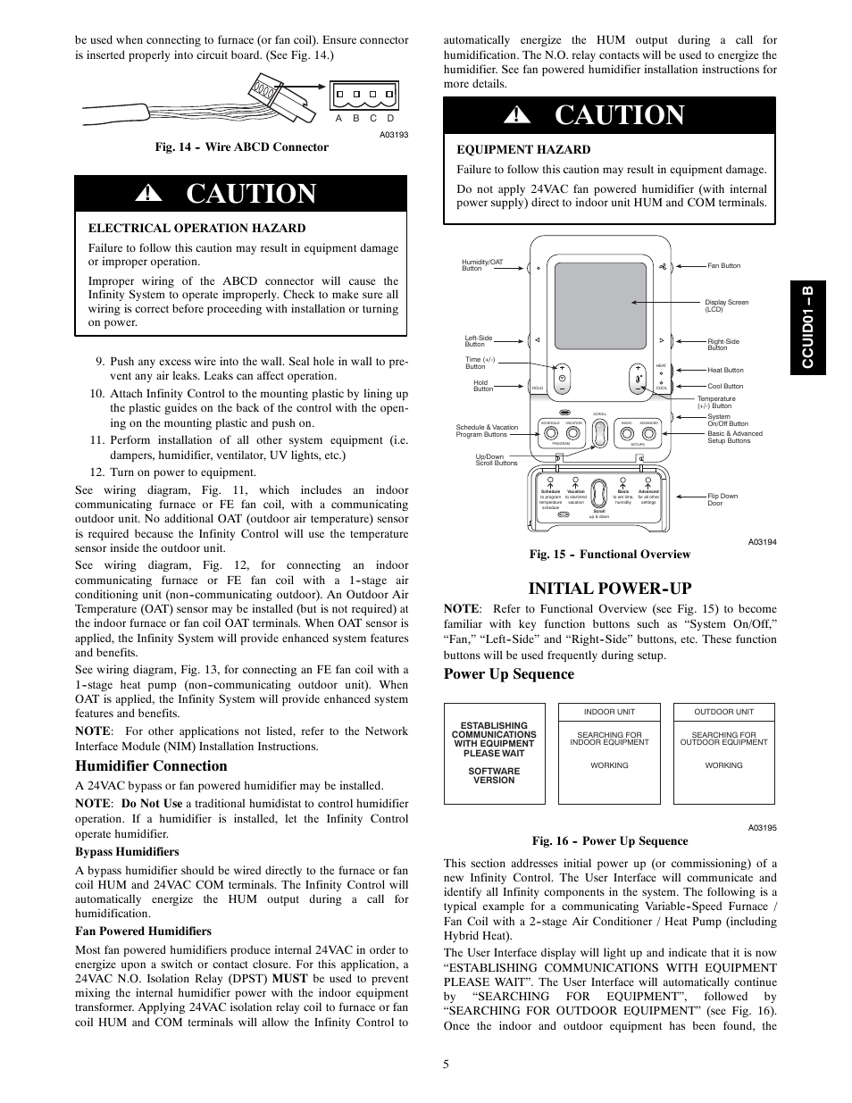 Caution Initial Power Up Humidifier Connection Carrier Infinity Coal Furnace Blower Wiring Diagram Systxccuid01 B User Manual Page 5 16