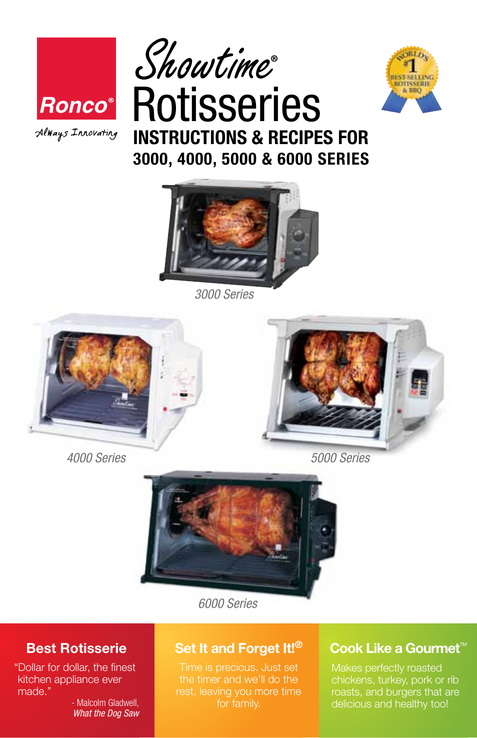 Ronco 5500 series stainless rotisserie oven user manual | 32 pages.