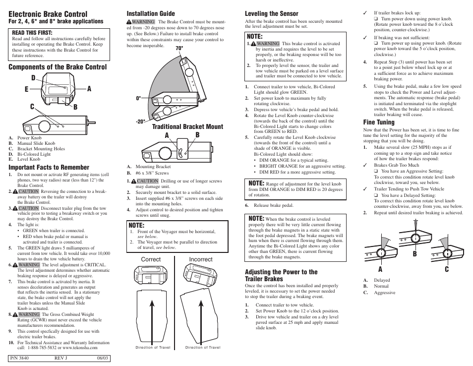Tekonsha Voyager User Manual