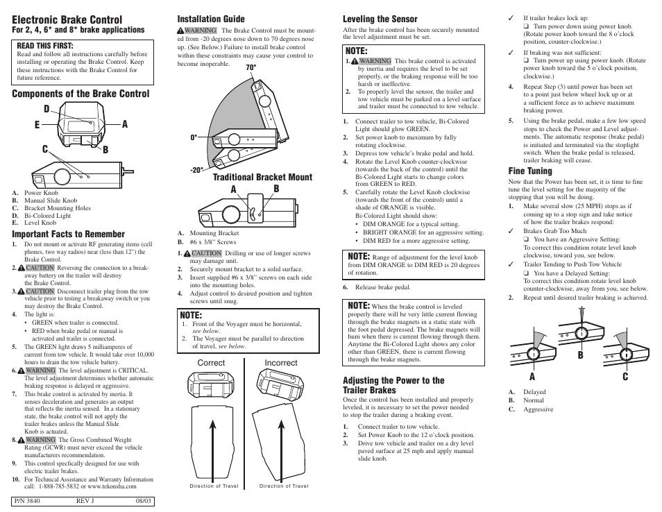 Tekonsha Voyager User Manual | 6 pages | Voyager Trailer Brake Wiring Diagram |  | Manuals Directory