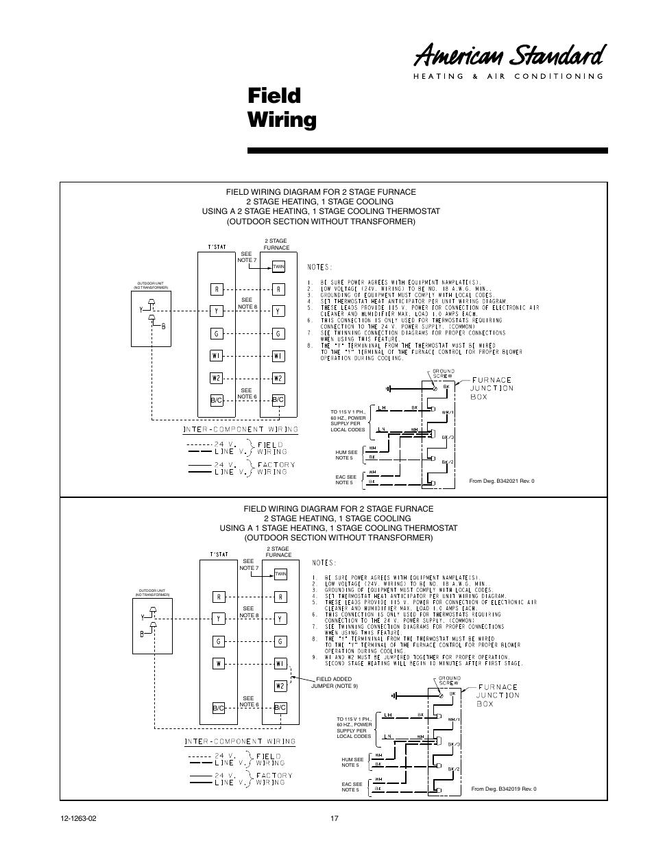 American Standard Heritage 13 Heat Pump Thermostat Wiring Diagram from www.manualsdir.com