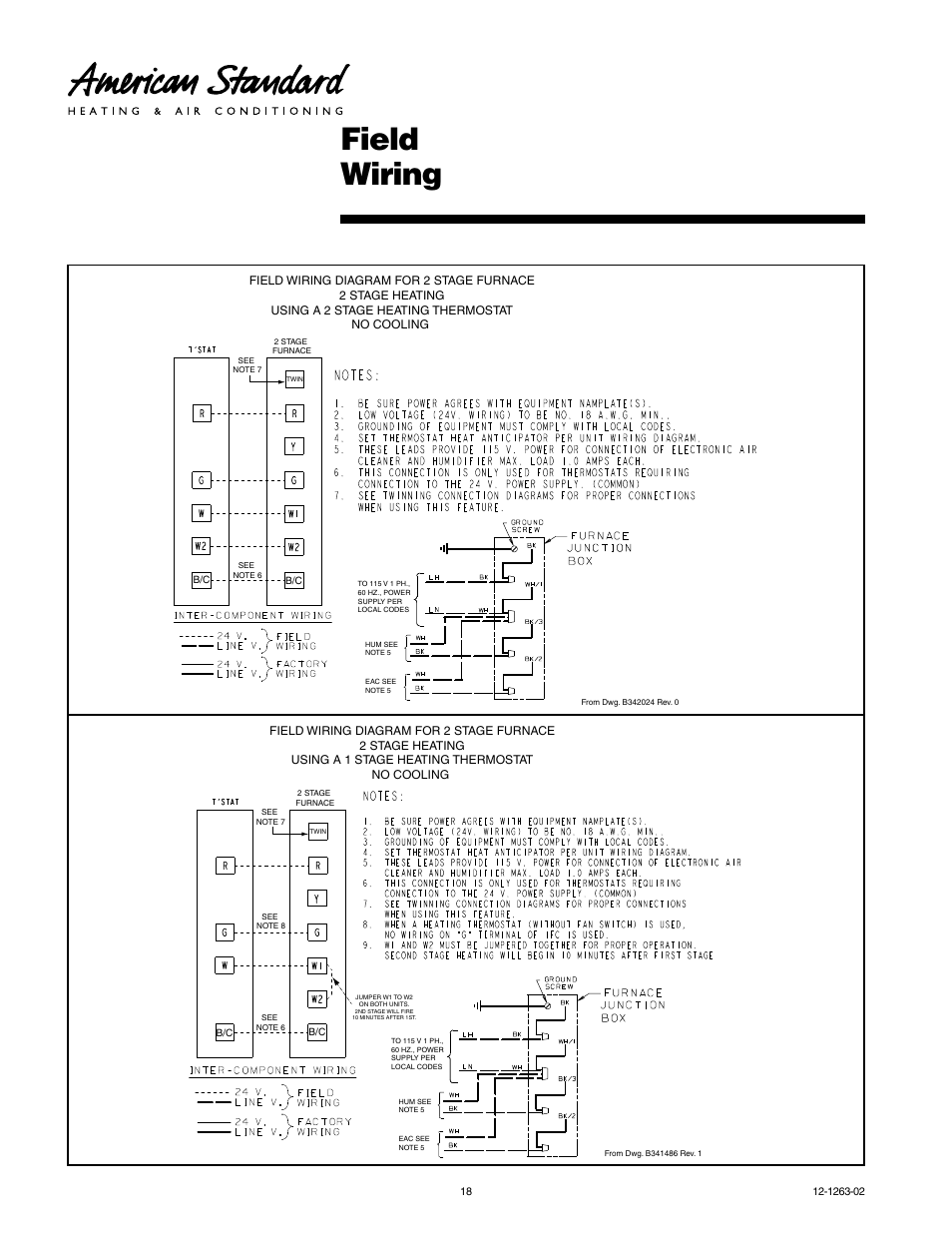 american standard freedom 80 page18 field wiring american standard freedom 80 user manual page 18 24 2-stage furnace thermostat wiring diagram at panicattacktreatment.co