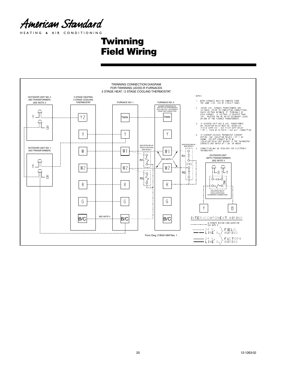 Twinning Field Wiring American Standard Freedom 80 User