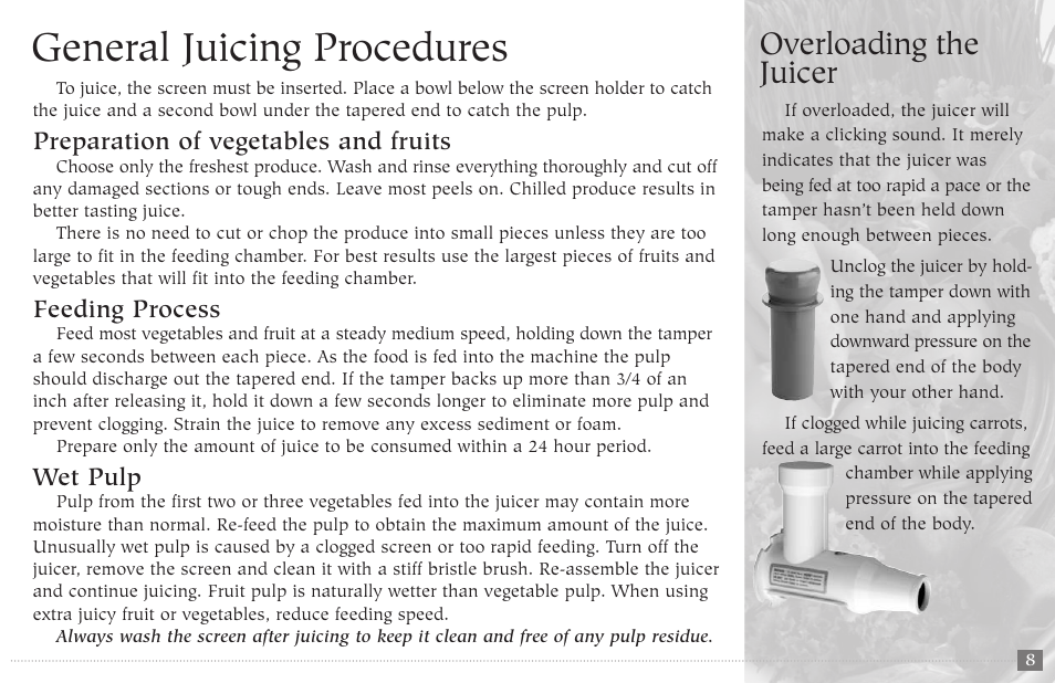 general juicing procedures overloading the juicer champion juicer rh manualsdir com champion juicer instructions champion juicer manual pdf