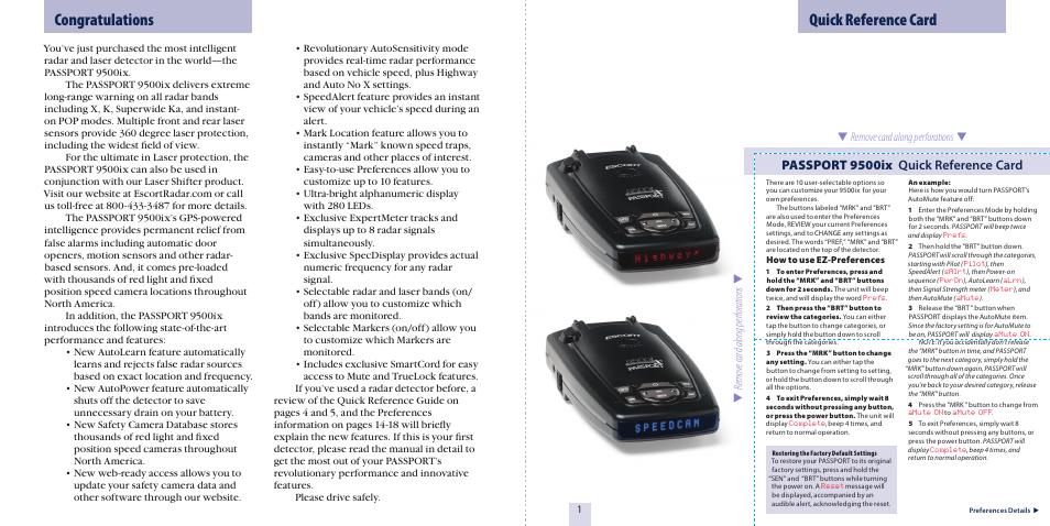quick reference card passport 9500ix quick reference card escort rh manualsdir com