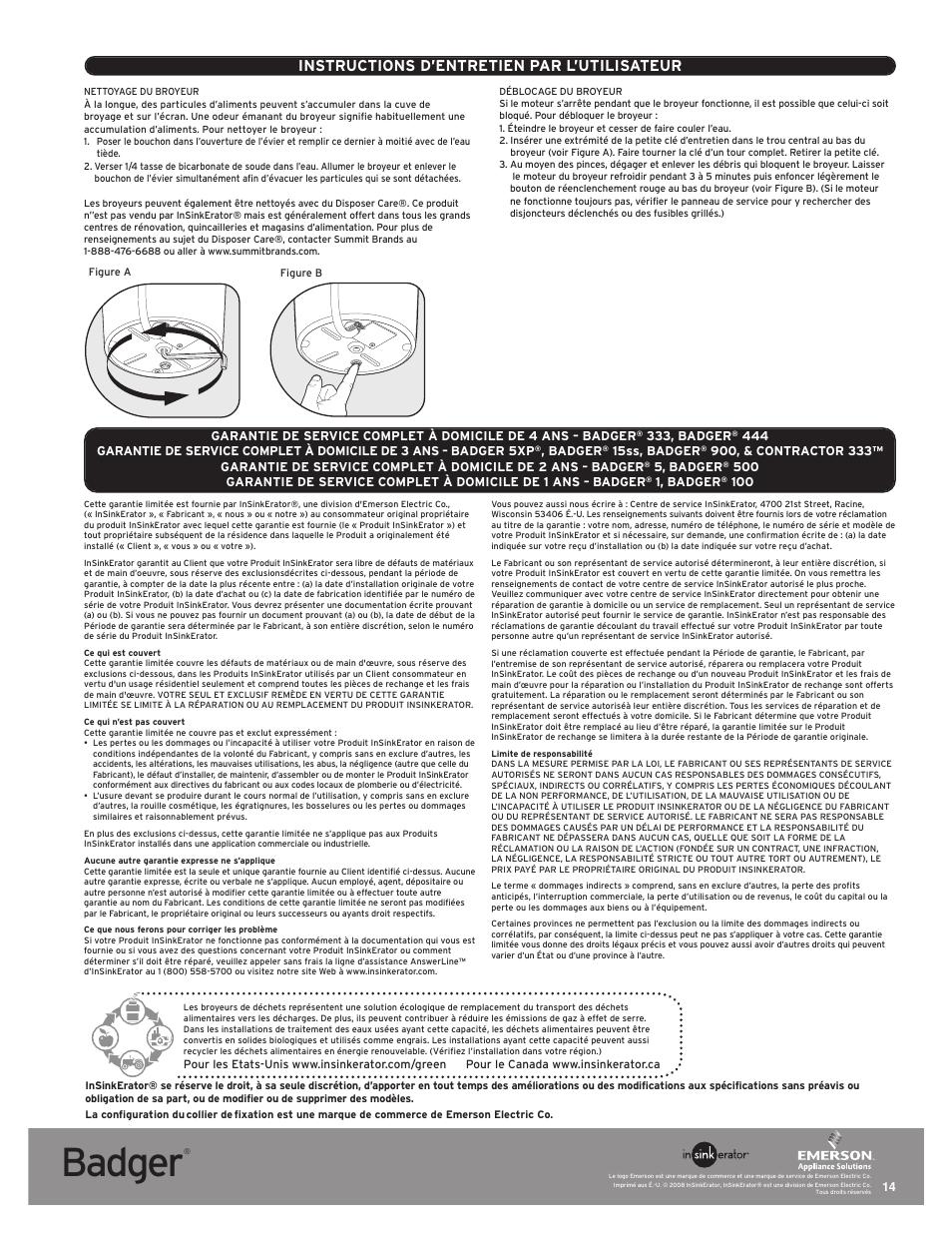 Badger, Instructions d'entretien par l'utilisateur | InSinkErator Badger 5 User  Manual