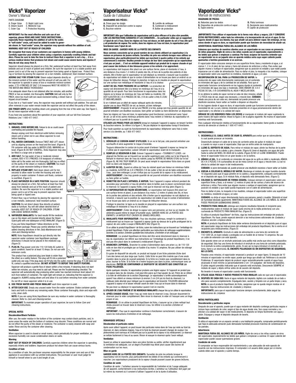 Vicks Warm Steam Vaporizer V105SG User Manual   2 pages   Original mode    Also for: 1.5 Gallon Vaporizer V150SG